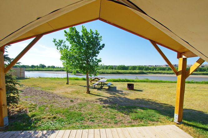 A view of the Red Deer River from our tent - Dinosaur Provincial Park