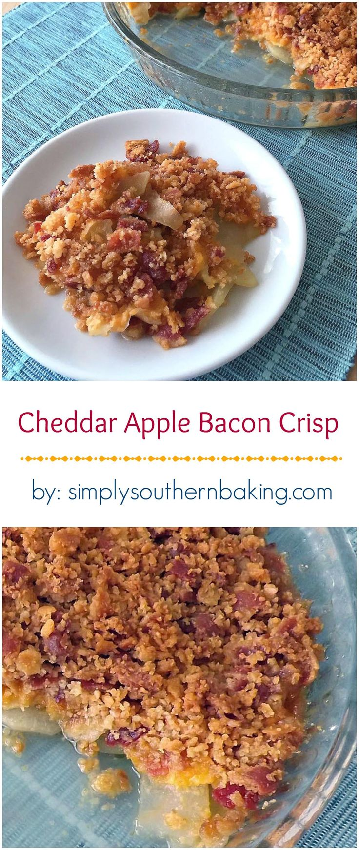 Apples, cheese, bacon and buttery crackers come together to make a sweet, salty, crunchy and savory apple crisp all rolled into one. #FWCon #WisconsinCheese