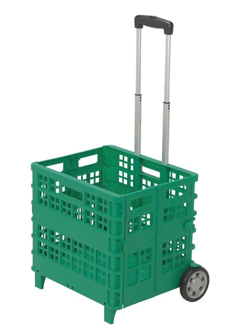 Chariot caisse pliant vert, 29.90€