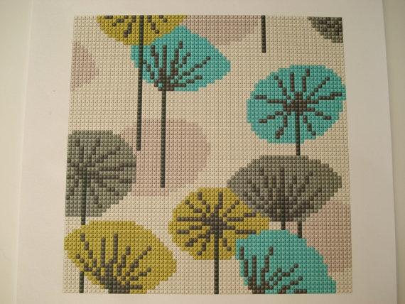 Vintage Retro Wallpaper cross stitch, needlepoint cushion, rug pdf pattern. Groovy, mod, kitsch, lounge,. $3.00, via Etsy.