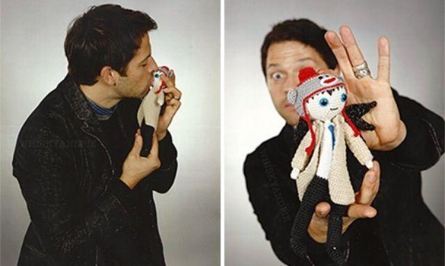 Misha with Castiel doll