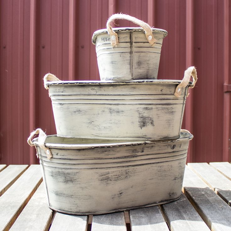 Galvanised Rustic Tub w/ Burlap Handles - Large from My Wedding Store