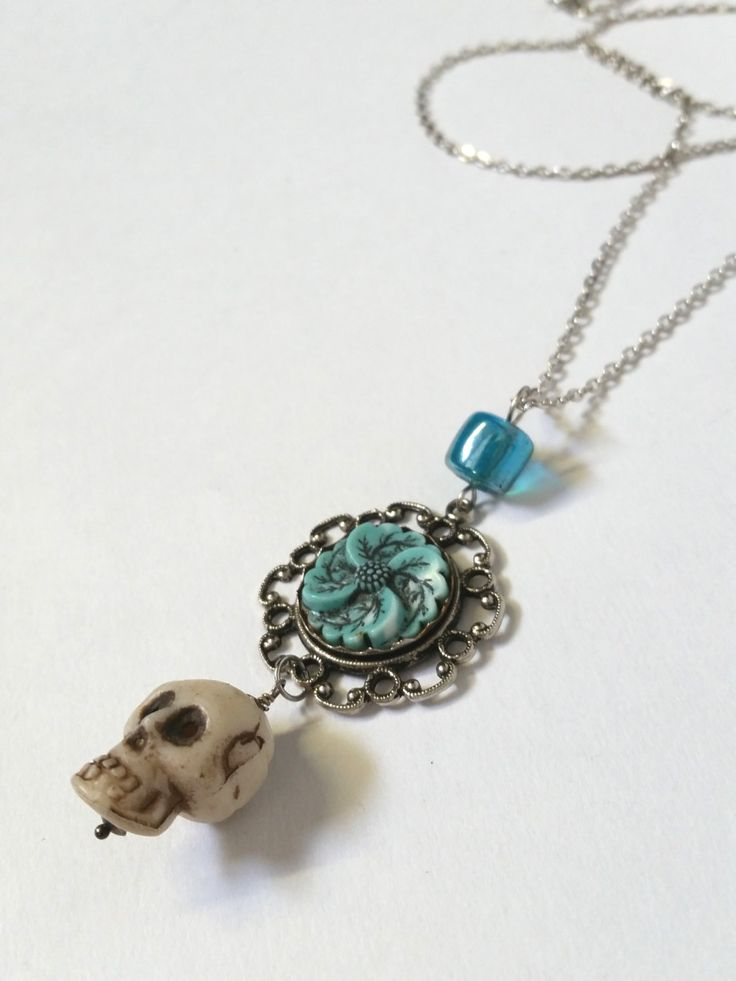 UPCYCLED Vintage Charm Necklace. Recycled Found Objects. Skull Charm. Silver Chain. - pinned by pin4etsy.com