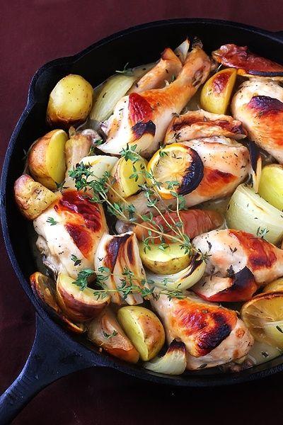 Pui la cuptor(marinat cu cidru de mere) cu cartofi si ceapa