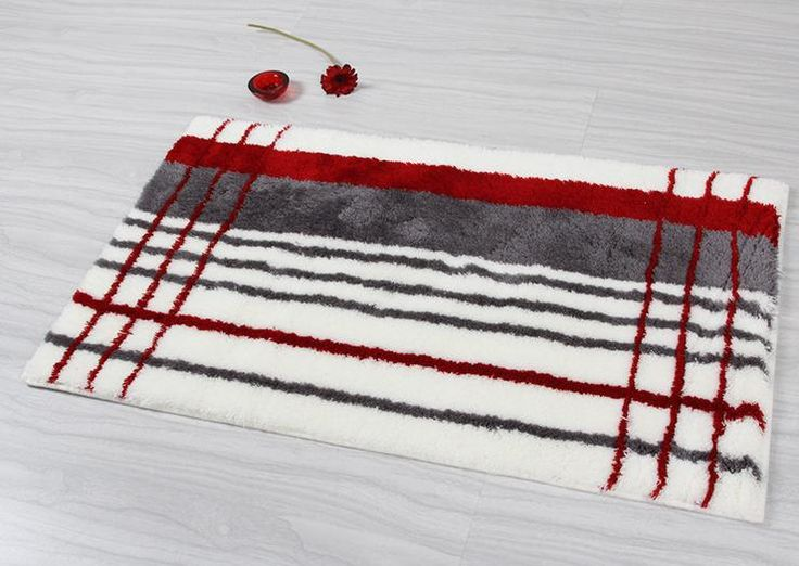 Elegant Gray Red Stripe Bathroom Rug Bath Mats DD6876 8 Wholesale Faucet