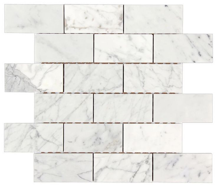 """12""""x12"""" Bianco Carrara Polished Marble Brick Mosaic Tile - Traditional - Mosaic Tile - by All Marble Tiles"""