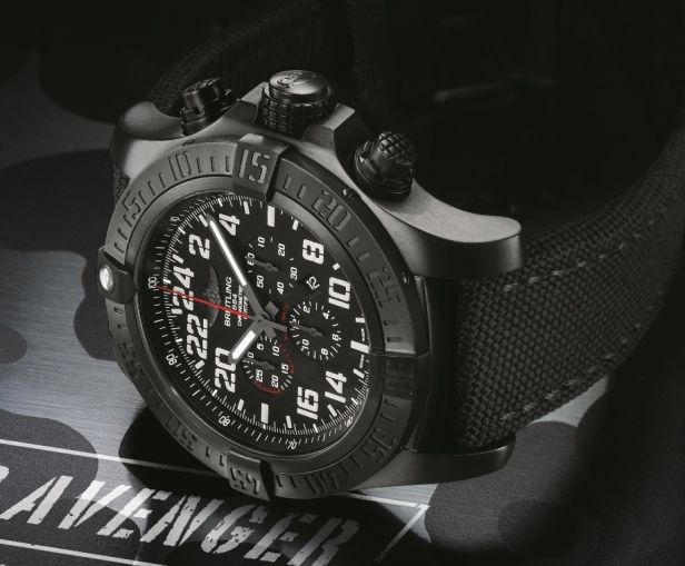 Breitling Super Avenger Military Watch on Side