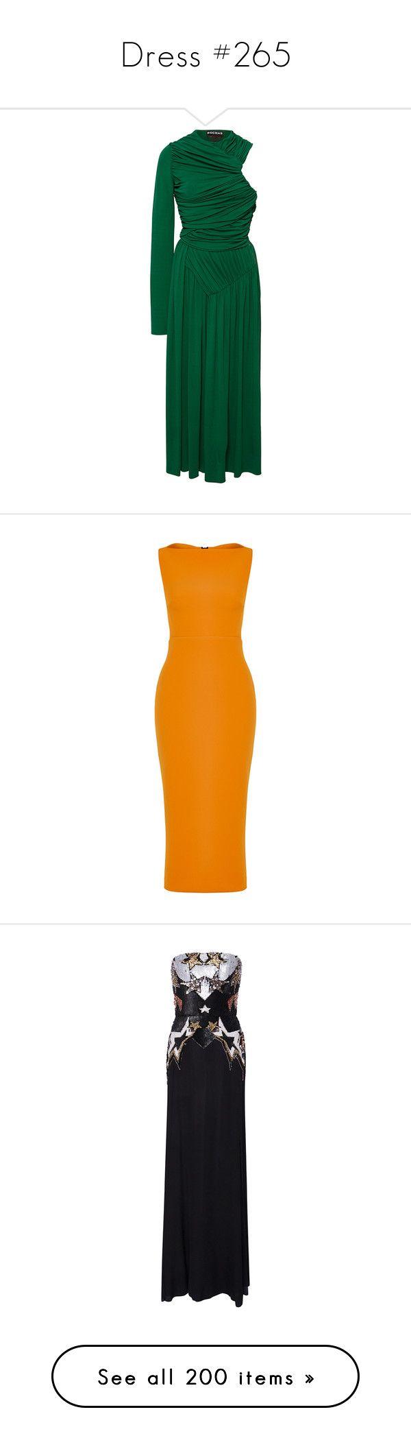 """Dress #265"" by bliznec-anna ❤ liked on Polyvore featuring dresses, green, one sleeve cocktail dress, green dress, long-sleeve midi dresses, pleated dress, drape dress, maticevski, orange and pencil dress"
