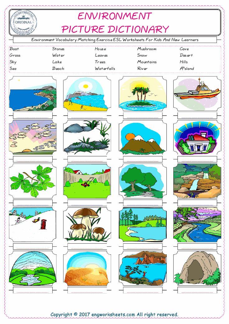Environment Vocabulary Matching Exercise Esl Worksheets