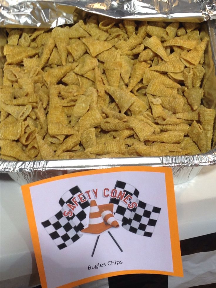 Safety cones. Scouts pinewood derby snacks. Bugles chips.