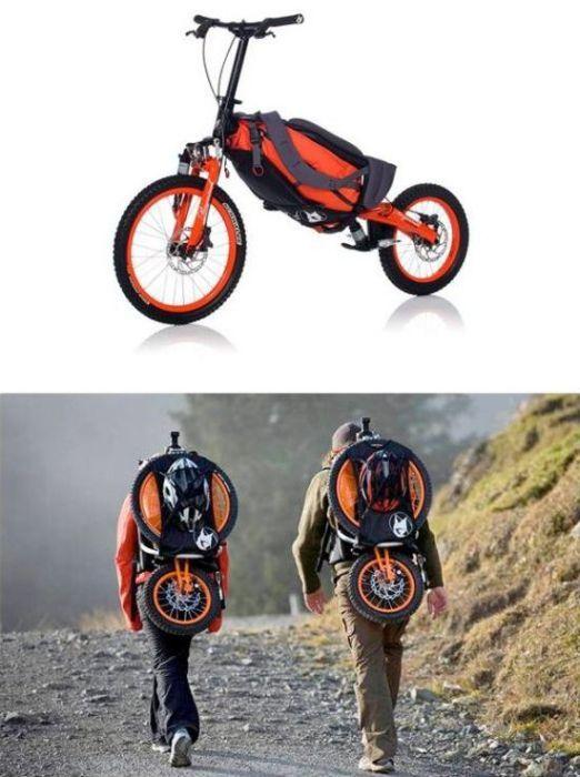 Bicicleta Portátil A bicicleta é completamente dobrável e se transforma em uma leve mochila, podendo ser transportada nas costas.