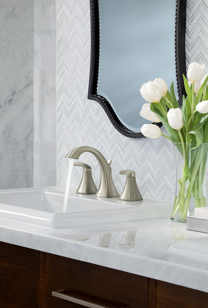 Moen   Voss Brushed Nickel Two Handle High Arc Bathroom Faucet