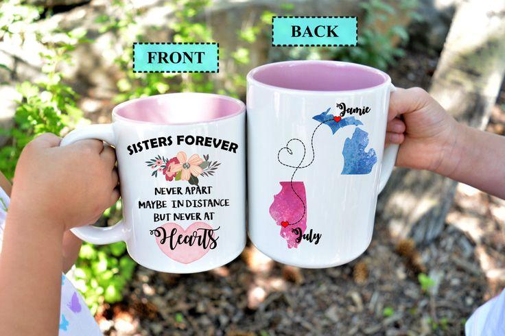 Sisters Forever,Sister Moving Mug,Mug for Sister,Long Distance Sister Mug,Moving away Sister Mug,Sister Gift,Unique Gift for sister,Sisters by HotTouch on Etsy