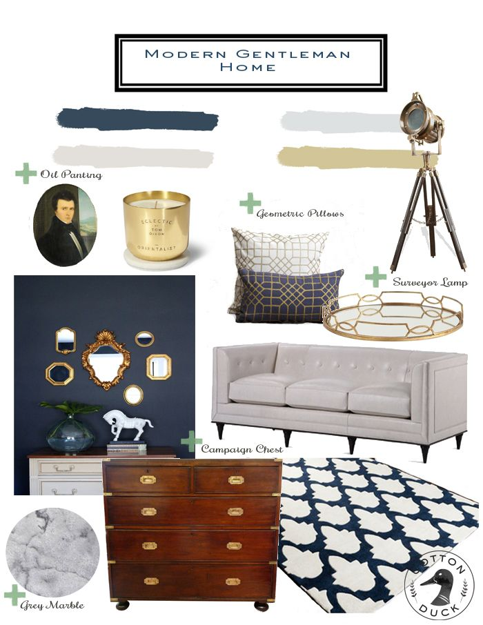 Modern Gentleman Home | New Traditional living room. Modern white sofa. Benjamin Moore Hale Navy. Gold and navy living room. Navy rug.