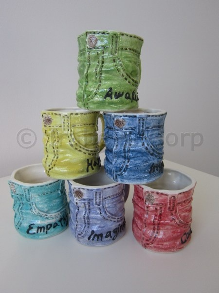 Faded Jean Mugs in cool color