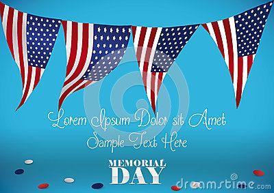 Festive template with American patriotic buntings to celebrate Memorial Day.