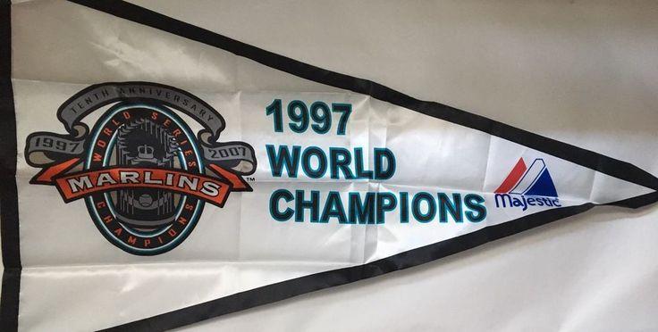 "Florida Marlins 1997 World Series Champions Majestic flag 31.5"" x 56"" #Majestic #FloridaMarlins"