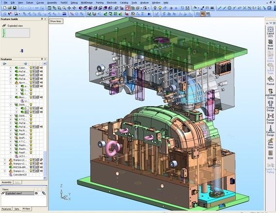 Projeto de Molde de Injeção Plástica de um parachoque automotivo desenvolvido em CAD 3D Cimatron