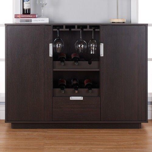 Wine Cabinet Bar Dining Buffet Storage Drawer Glass Home Liquor Pub Wood Modern