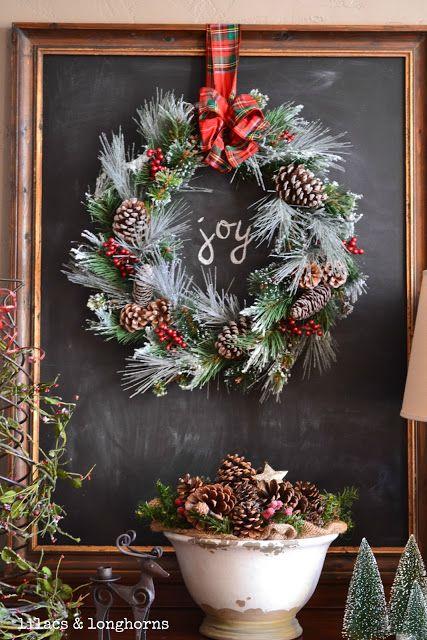 chalkboard + wreath = joy
