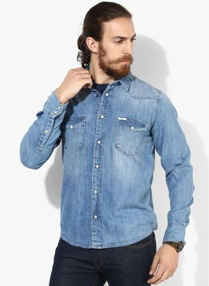 New Collection in Casual Shirts for Men - Buy Latest Design Men Casual Shirts Online | Jabong.com  Rs.2499  Buy Now:-http://www.jabong.com/pepe-jeans-Blue-Washed-Regular-Fit-Casual-Shirt-2885562.html?pos=4