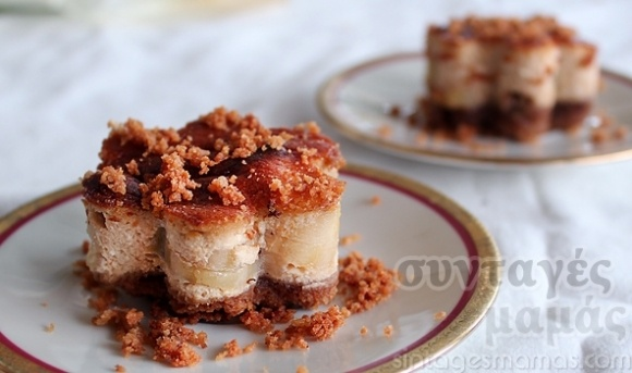 Banana and mizithra cheesecake - Τσιζκέικ με μυζήθρα και μπανάνες