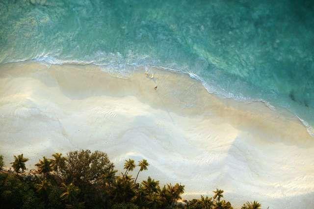 Seychelles  aerial north beach view
