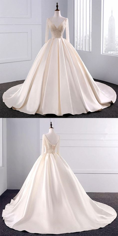 bling bling sequins beaded ball gowns champagne wedding dresses with 3/4 sleeves #Champagne