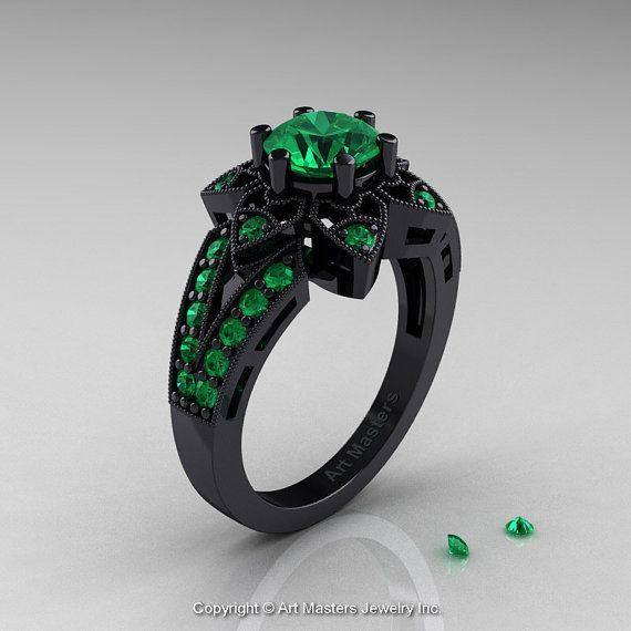 *omg this ring!* Art Deco 14K Black Gold 1.0 Ct Emerald Wedding Ring, Engagement Ring R286-14KBGEM