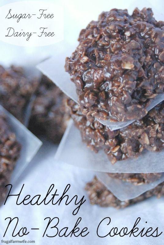 Healthy No-Bake Cookies (sugar and dairy free, use GF oats)