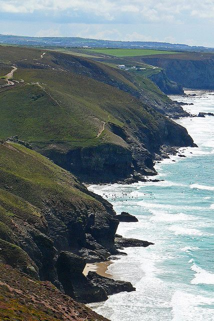 Cliffs on the North Cornish Coast near St Agnes, Cornwall England