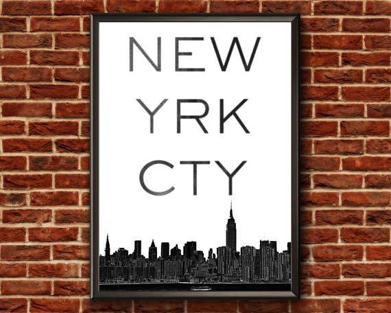 New York City Print  New York Typography Print  New York