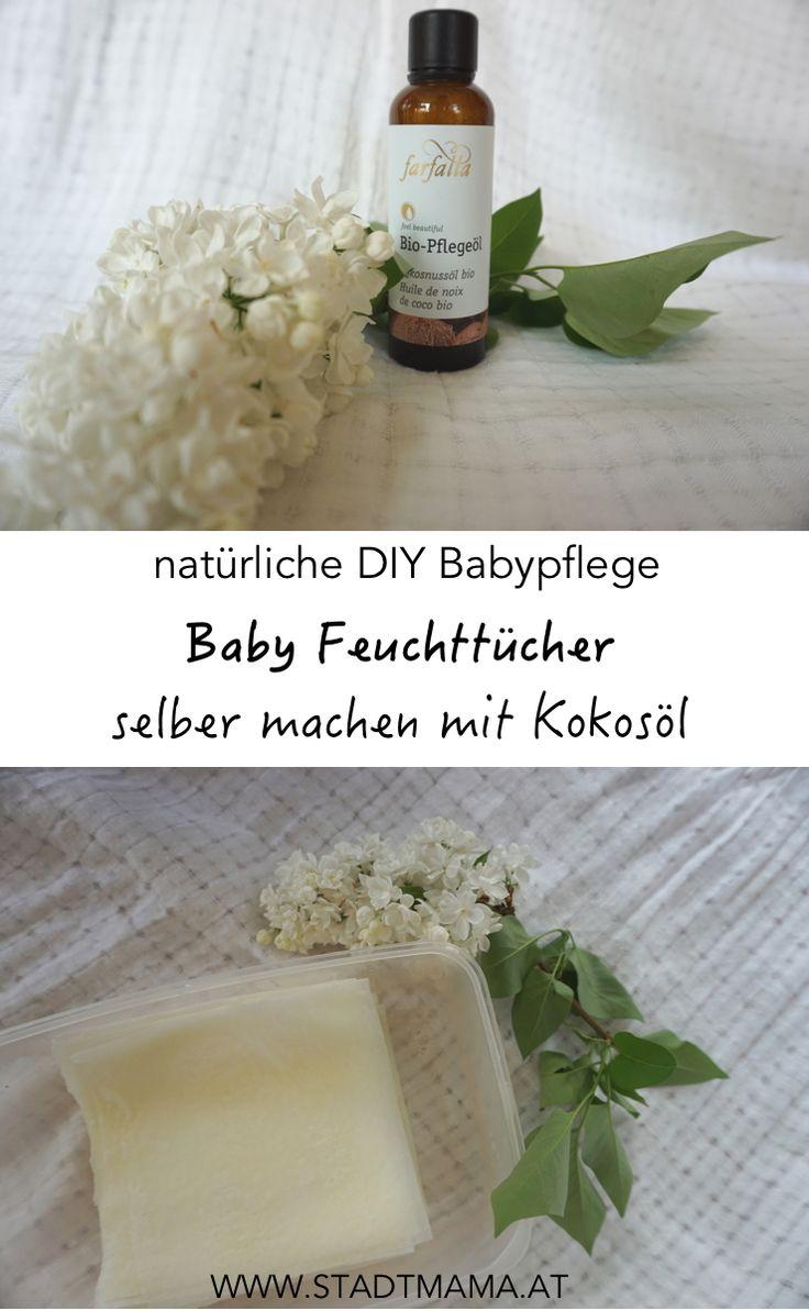 Baby Feuchttücher selber machen mit Kokosöl ist eine einfache DIY Alternative zu herkömmlichen Fruchttüchern. Ihr braucht für die natürliche Babypflege nur Koksöl, Küchenrolle und Wasser.