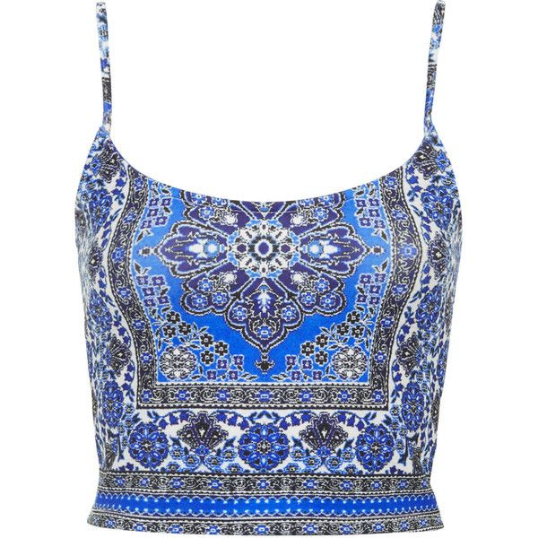 TOPSHOP TALL Folk Tile Print Bralet (64 BRL) ❤ liked on Polyvore featuring tops, crop tops, shirts, tank tops, blue, strappy bralette top, spaghetti-strap tops, blue top, strappy top and cut-out crop tops