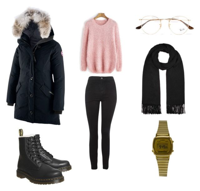 """rosa genser"" by andreakri on Polyvore featuring Dr. Martens, Acne Studios, Topshop, Casio, Ray-Ban and Canada Goose"