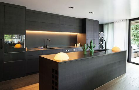 Modern black cabinet single wall kitchen with island