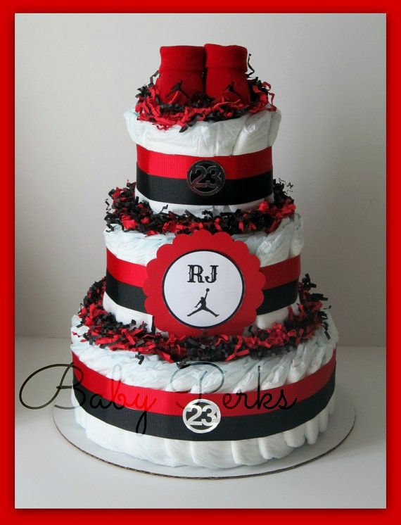 Air Jordan Diaper Cake , ANY COLORS , Baby Shower Decorations ,Red, Black ,  Diaper Cake