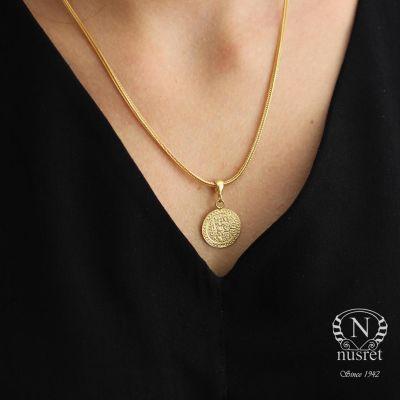 925 Ayar Gümüş Tuğra Madalyon Kolye, Sarı