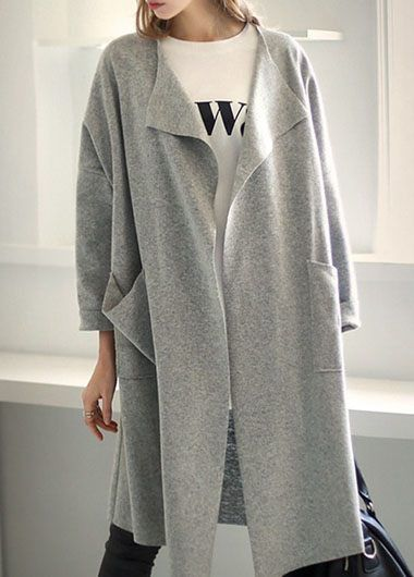 Turndown Collar Grey Long Sleeve Trench Coat on sale only US$32.73 now, buy cheap Turndown Collar Grey Long Sleeve Trench Coat at lulugal.com