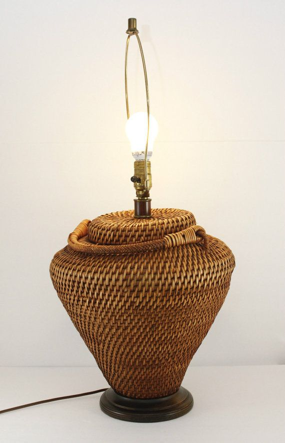Hi & welcome to PaulasLoft - a shopping experience for unique & eclectic vintage home decor!  Beautiful basket lamp!  Great condition, wonderful warm patina Wood base & collar, non-polarized plug Takes a 3-way bulb Tight weave, Includes harp & finial  Vintage Condition: Beautiful! If you are a perfectionist you may want to readjust the lean - otherwise Fabulous! Please look at pictures carefully. You will be very happy with this lamp!  Markings: unmarked Measures Appx: 19 to top of socket…