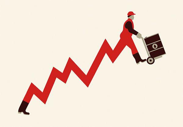 Shale Oil business boom. Illustration for NNZ newspaper by Miguel Montaner, via Behance