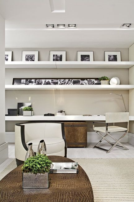 Rec/ guest room homework area lovely shade of taupe paint on the walls - floating shelving