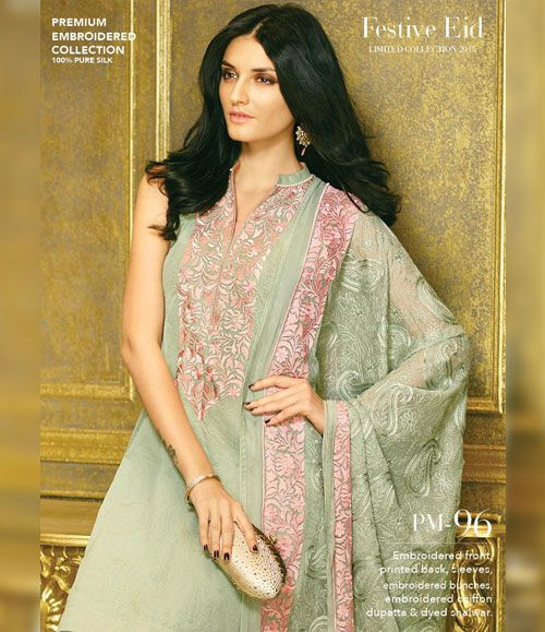 Gul Ahmed Premium Embroidered Chiffon Festive Collection 2015 PM-96