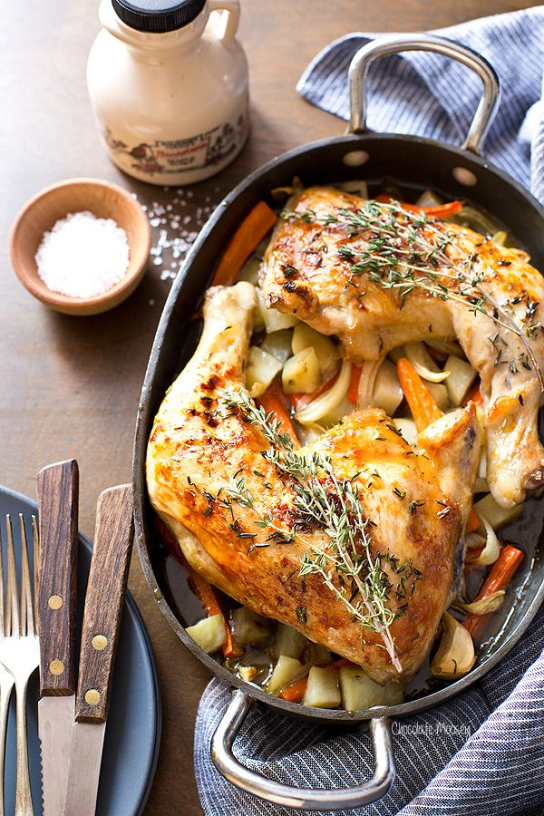A fulfilling dinner for two, Maple Roasted Chicken Quarters with roasted vegetables underneath is simple yet packed with flavor. Ready in 75 minutes.