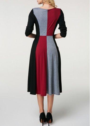 Long Sleeve Color Block Tunic Midi Dress | modlily.com - USD $34.09 3