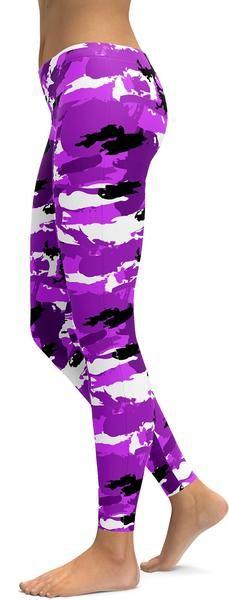 Purple Camo Leggings - GearBunch Leggings / Yoga Pants