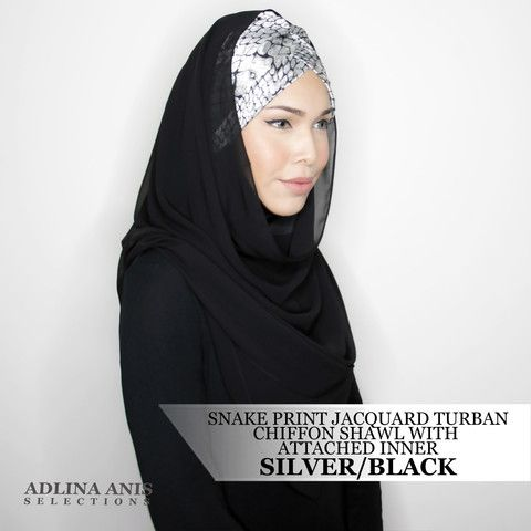 SNAKE PRINT JACQUARD TURBAN CHIFFON SHAWL WITH ATTACHED INNER - SILVER/BLACK  $68.00 SGD  Limited Edition Slip-on Turban with shawl and attached ninja providing a fuller coverage. Style it like the onesie. Size: Fits small to medium  You'll find only the best hijabs / tudungs / scarves that are shipped worldwide.  Click through to the website to find out more.