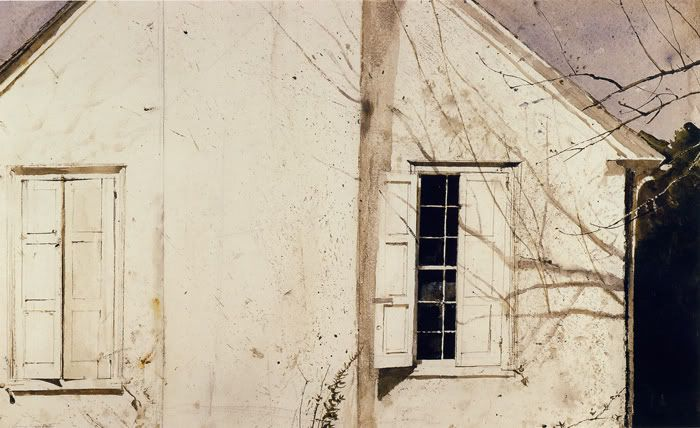 Andrew Wyeth - Open Shutter, 1974 Watercolor on paper, 18 1/2 x 29 3/4 inches Brandywine River Museum
