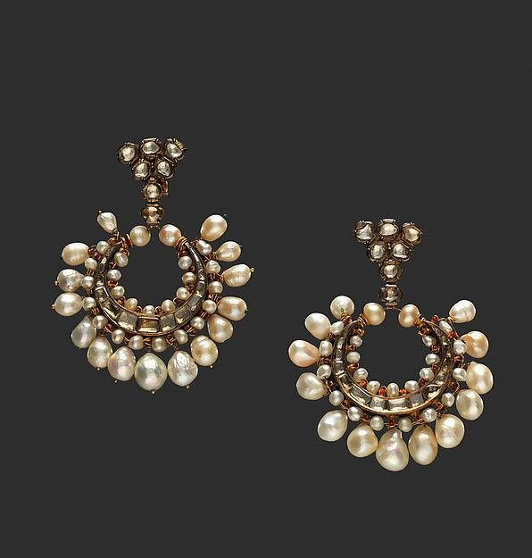 Crescent-Shaped Pearl and Diamond Earrings. India, Deccan, Hyderabad, Islamic. 18th Century. Diamonds, pearls, gold, and enamel.