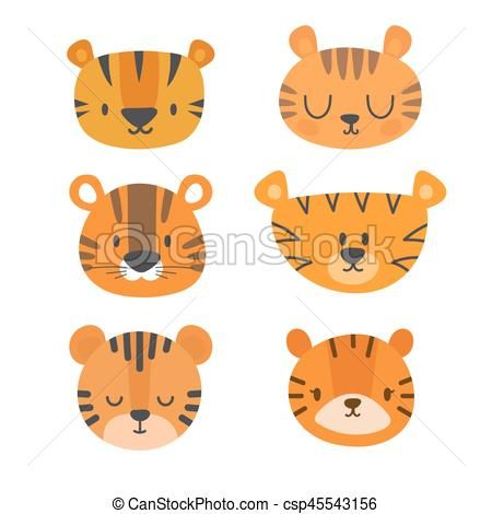 Set of cute tigers. Funny doodle animals. Little tiger in cartoon style Vector -…